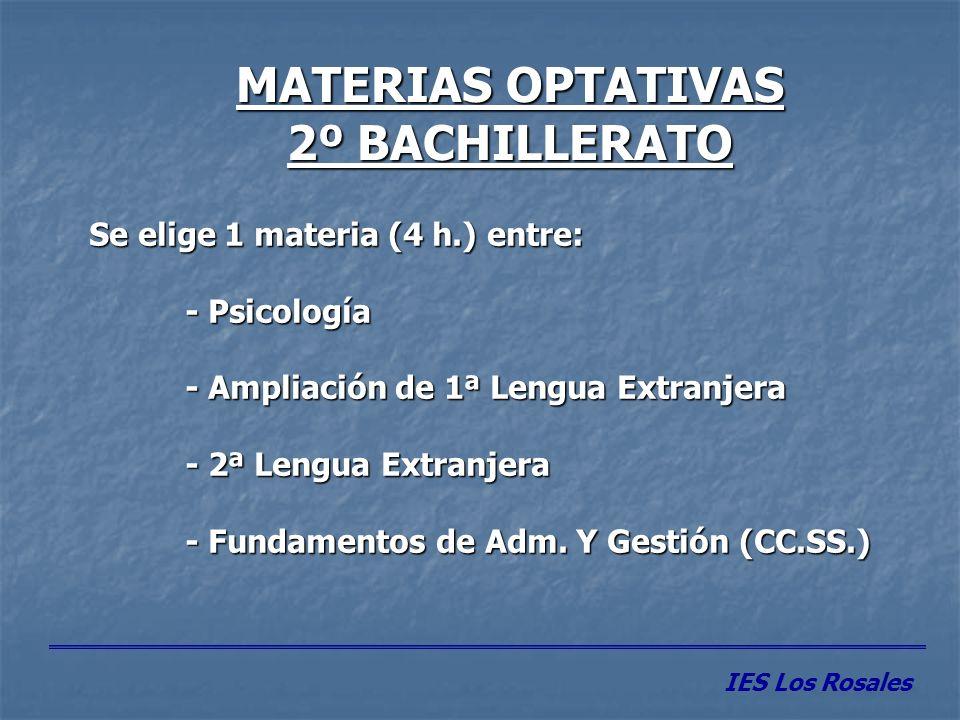 MATERIAS OPTATIVAS 2º BACHILLERATO