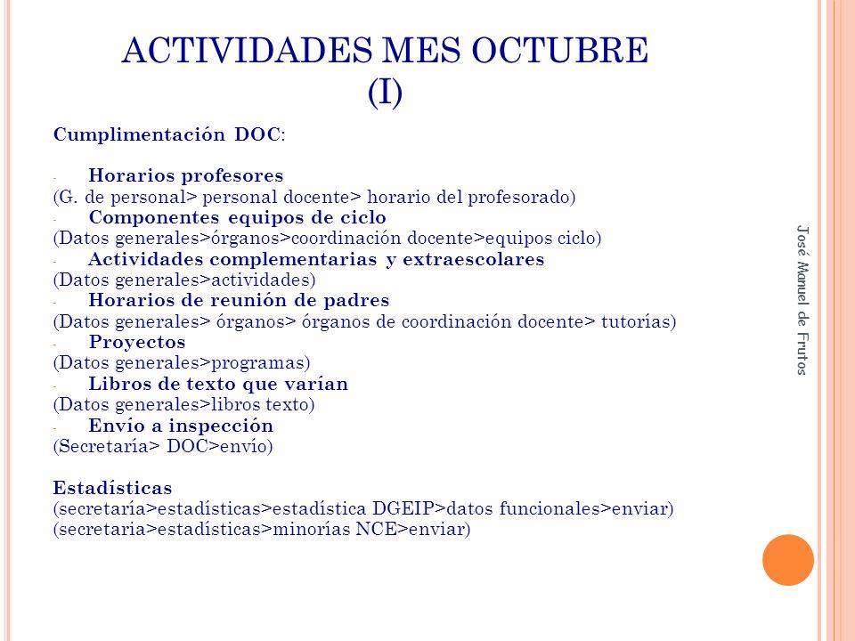 ACTIVIDADES MES OCTUBRE (I)