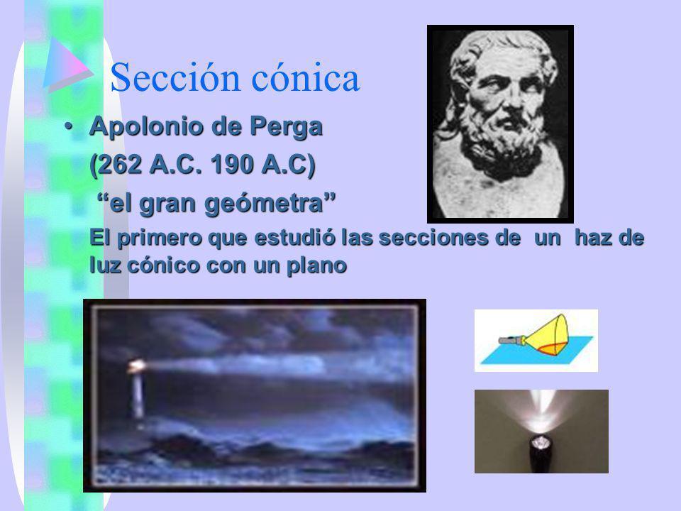 Sección cónica Apolonio de Perga (262 A.C. 190 A.C) el gran geómetra