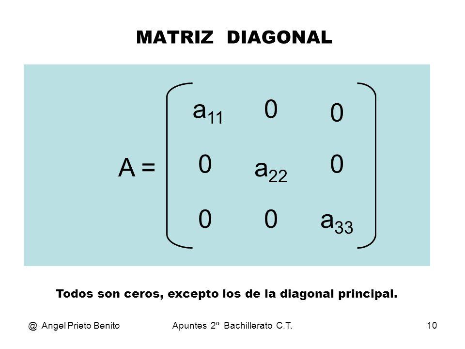 MATRIZ DIAGONALa11. A = a22. a33. Todos son ceros, excepto los de la diagonal principal. @ Angel Prieto Benito.