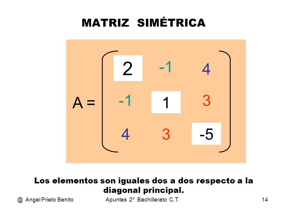2 -1 4 -1 3 A = 1 4 3 -5 MATRIZ SIMÉTRICA