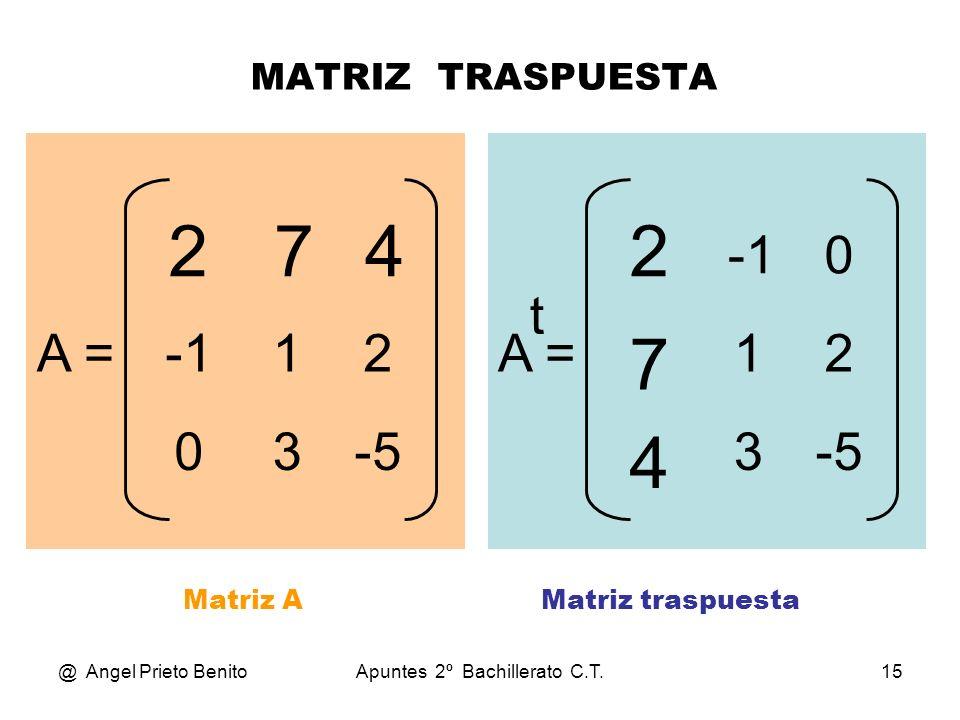 2 7 4 2 7 4 -1 t A = -1 1 2 A = 1 2 3 -5 3 -5 MATRIZ TRASPUESTA