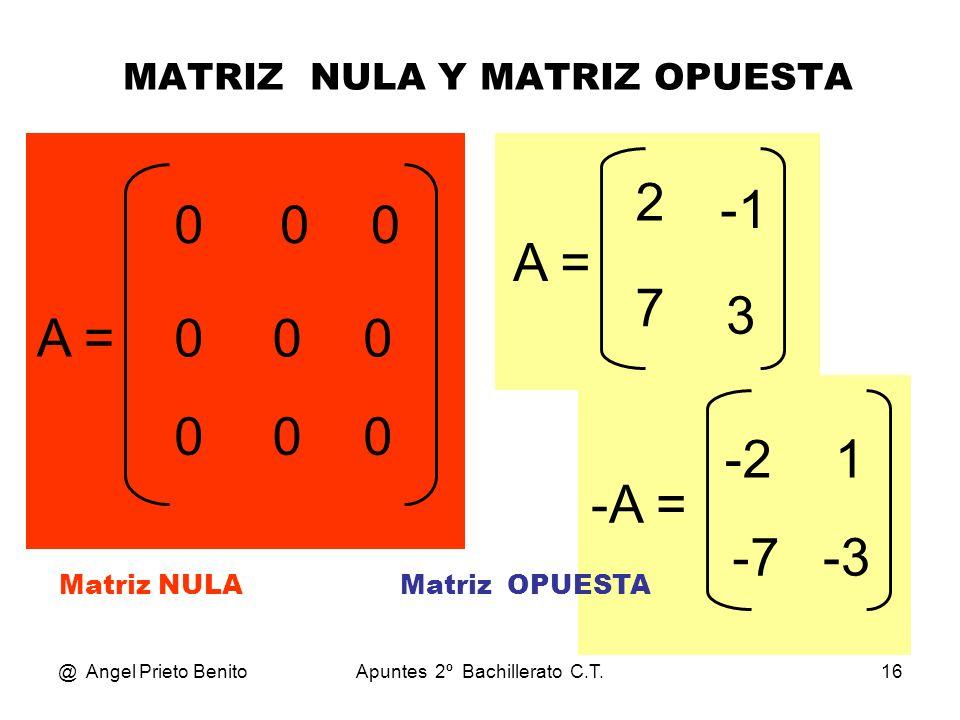 MATRIZ NULA Y MATRIZ OPUESTA