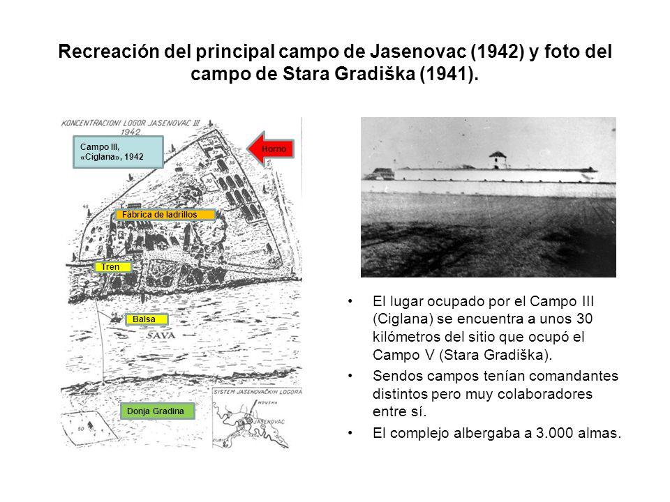 Recreación del principal campo de Jasenovac (1942) y foto del campo de Stara Gradiška (1941).
