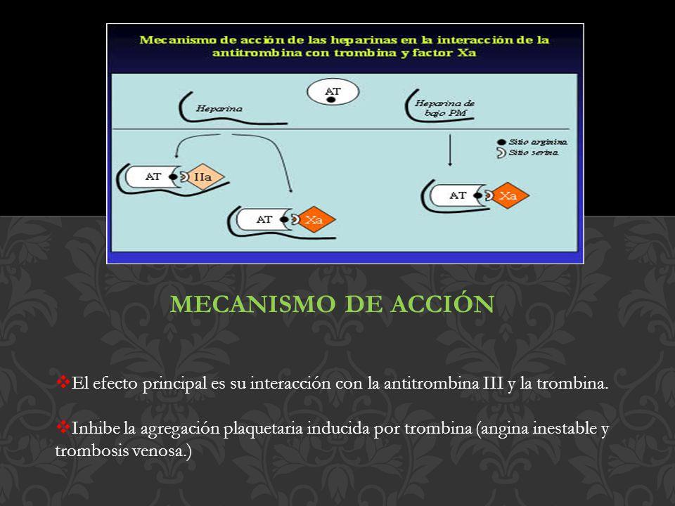 MECANISMO DE ACCIÓN El efecto principal es su interacción con la antitrombina III y la trombina.