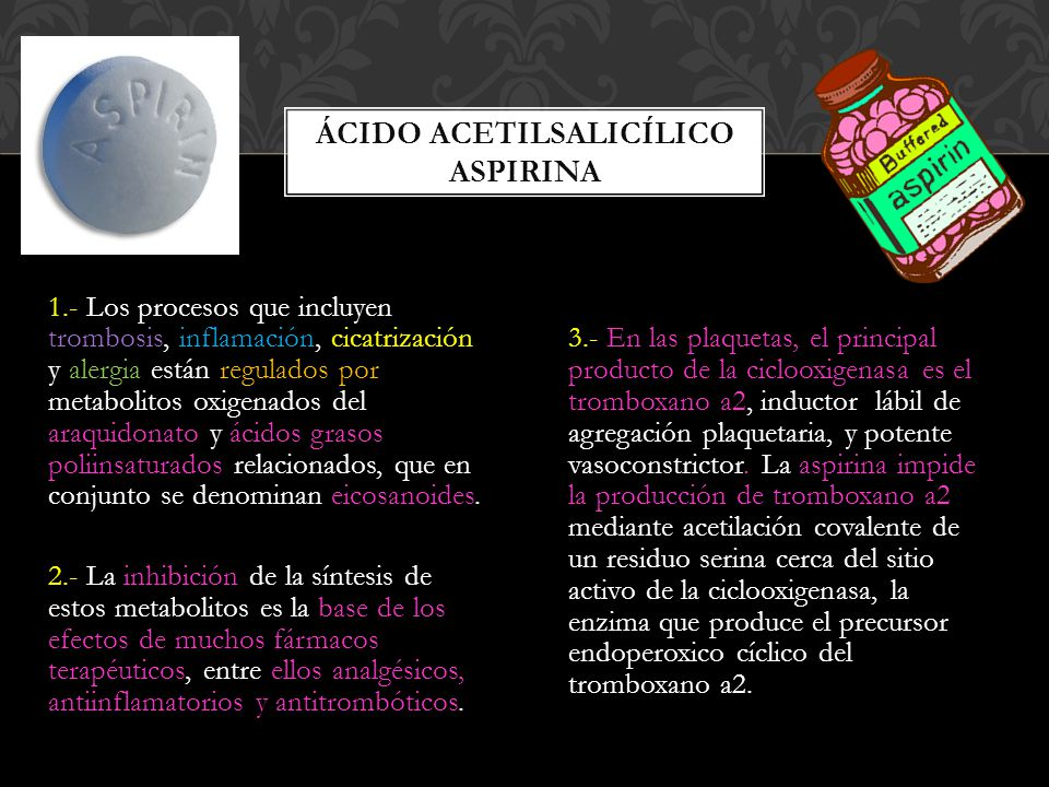 Ácido acetilsalicílico aspirina