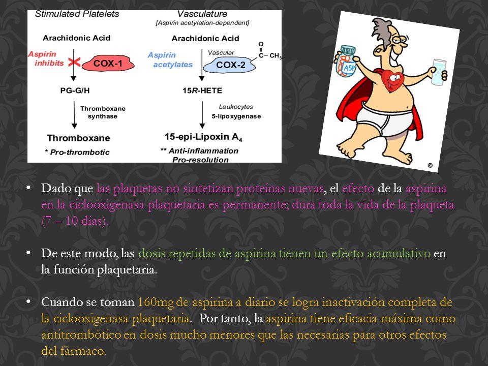 Dado que las plaquetas no sintetizan proteínas nuevas, el efecto de la aspirina en la ciclooxigenasa plaquetaria es permanente; dura toda la vida de la plaqueta (7 – 10 días).