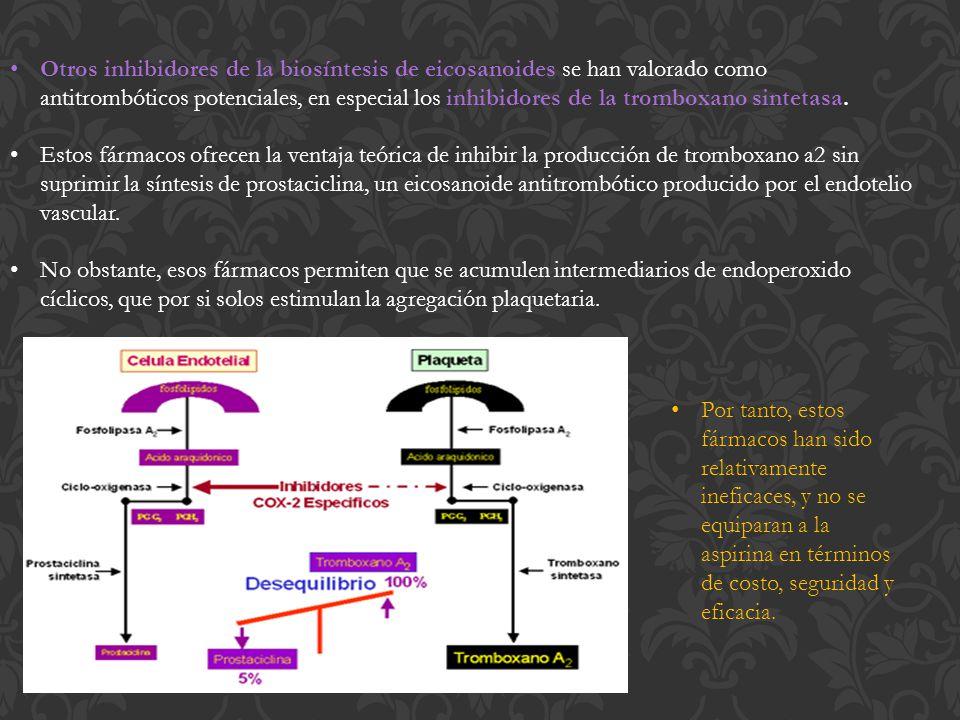 Otros inhibidores de la biosíntesis de eicosanoides se han valorado como antitrombóticos potenciales, en especial los inhibidores de la tromboxano sintetasa.