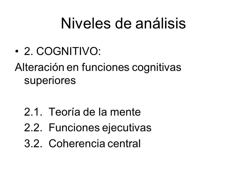 Niveles de análisis 2. COGNITIVO: