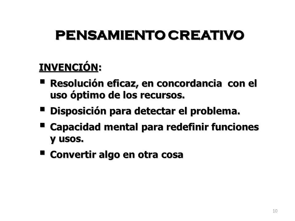PENSAMIENTO CREATIVO INVENCIÓN:
