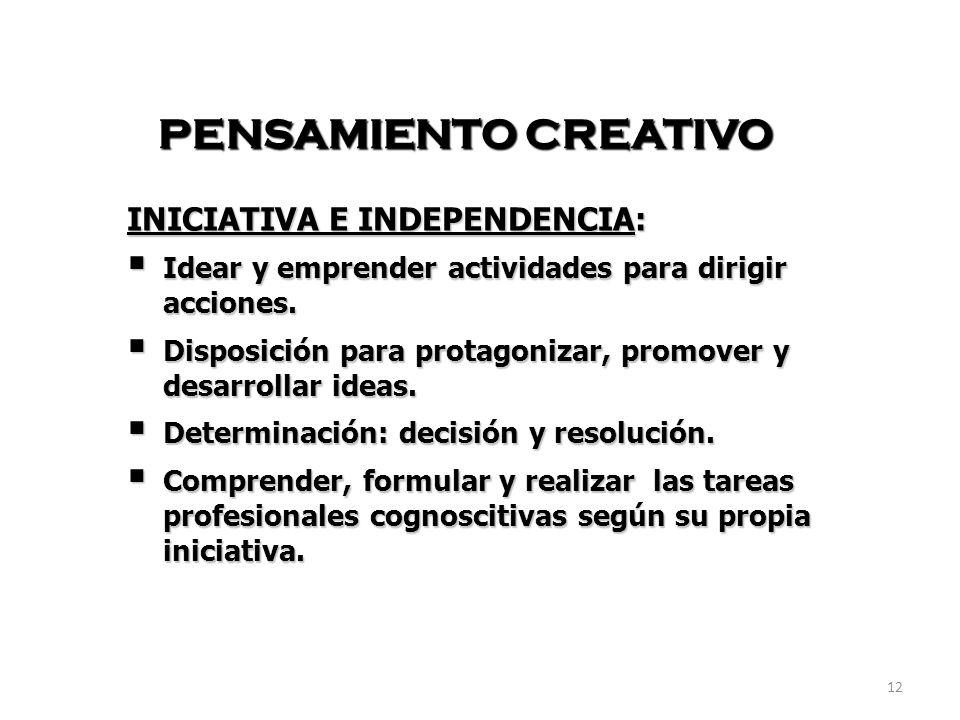 PENSAMIENTO CREATIVO INICIATIVA E INDEPENDENCIA: