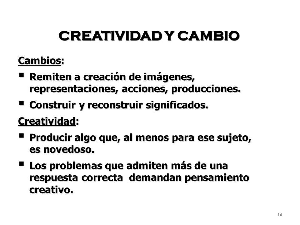 CREATIVIDAD Y CAMBIO Cambios: