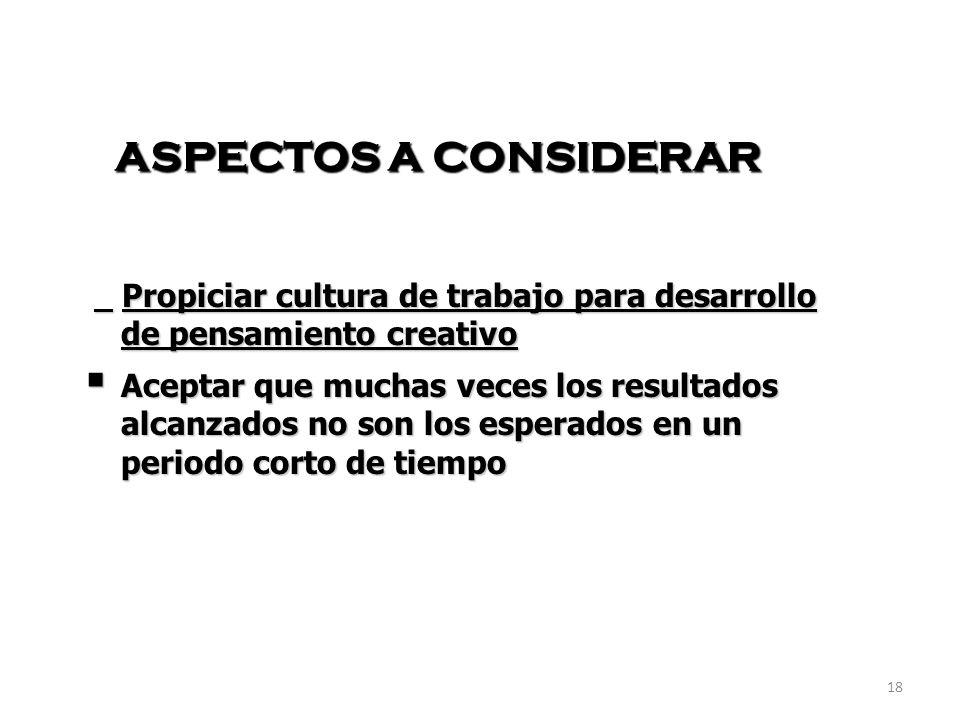 ASPECTOS A CONSIDERAR Propiciar cultura de trabajo para desarrollo de pensamiento creativo.