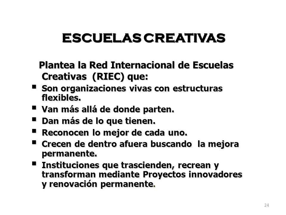 Plantea la Red Internacional de Escuelas Creativas (RIEC) que: