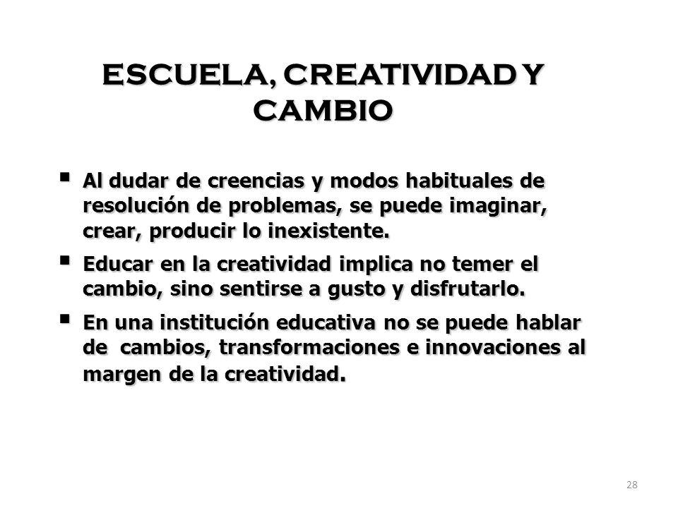 ESCUELA, CREATIVIDAD Y CAMBIO