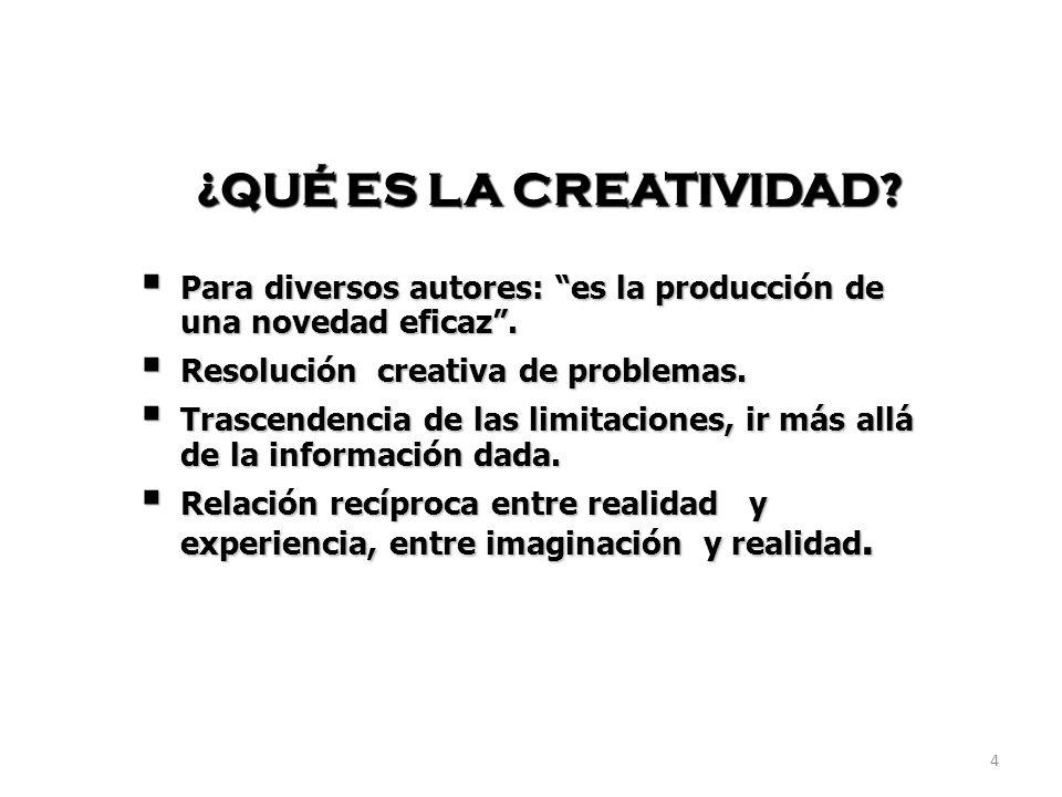 ¿QUÉ ES LA CREATIVIDAD Para diversos autores: es la producción de una novedad eficaz . Resolución creativa de problemas.