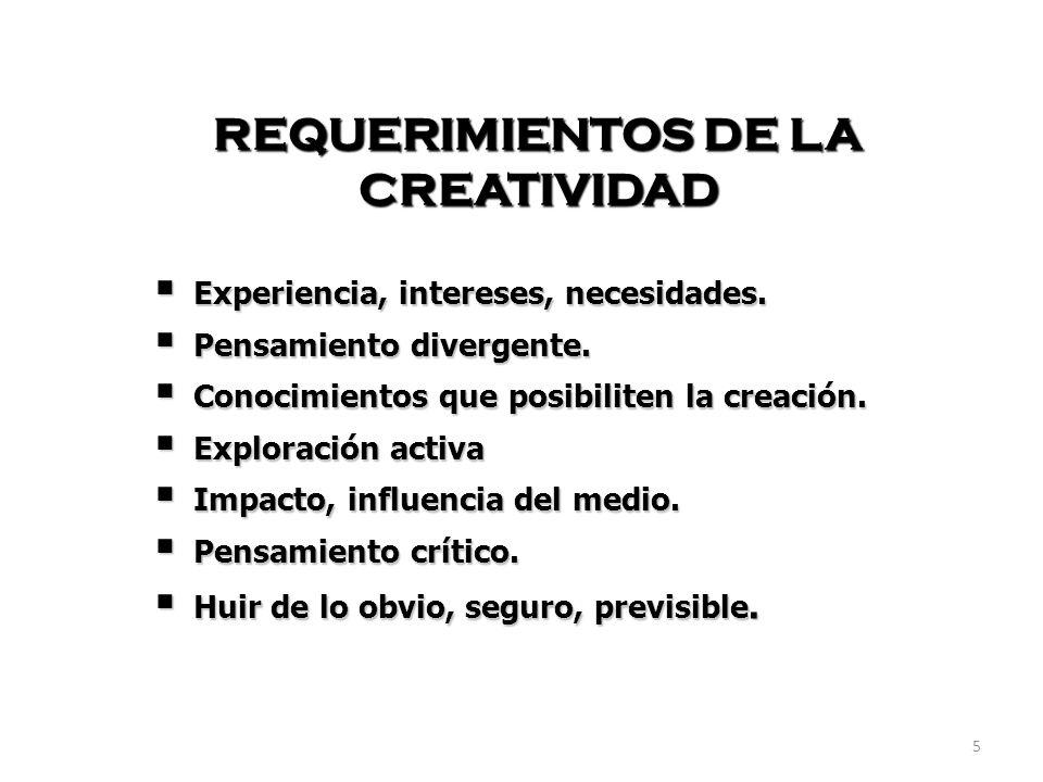REQUERIMIENTOS DE LA CREATIVIDAD