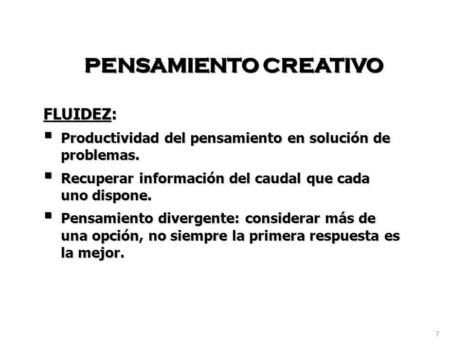 PENSAMIENTO CREATIVO FLUIDEZ: