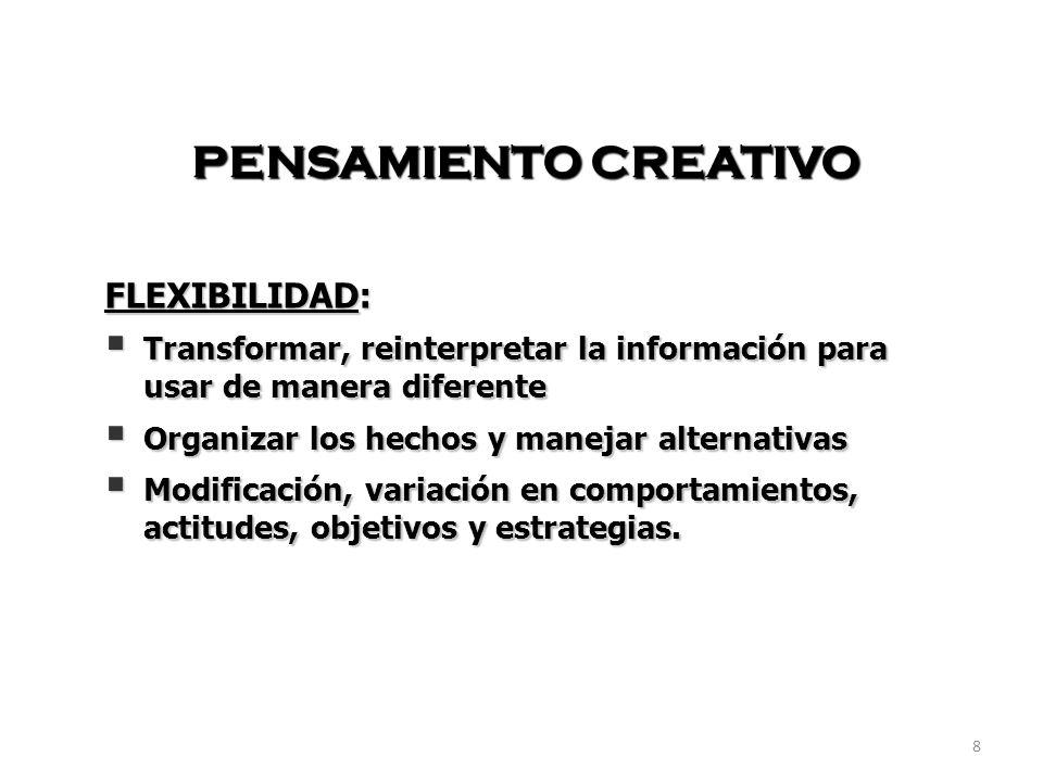 PENSAMIENTO CREATIVO FLEXIBILIDAD: