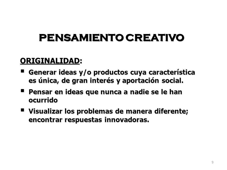 PENSAMIENTO CREATIVO ORIGINALIDAD: