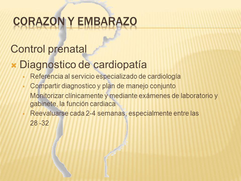 CORAZON Y EMBARAZO Control prenatal Diagnostico de cardiopatía