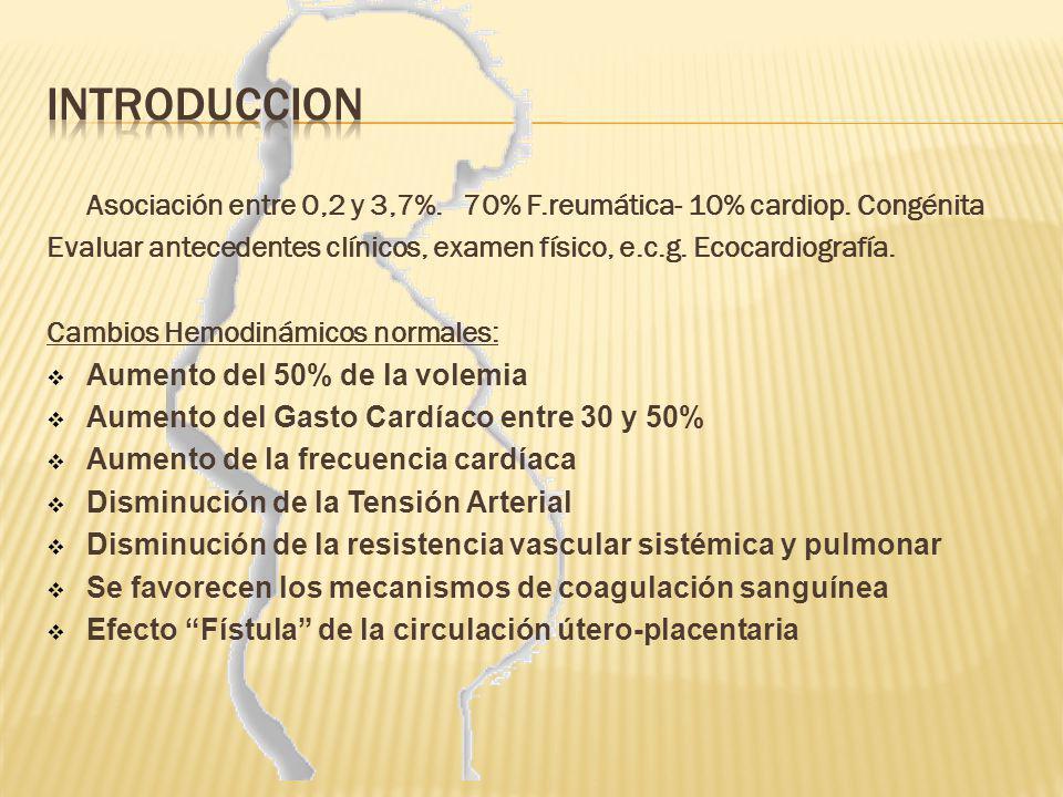 INTRODUCCION Asociación entre 0,2 y 3,7%. 70% F.reumática- 10% cardiop. Congénita.