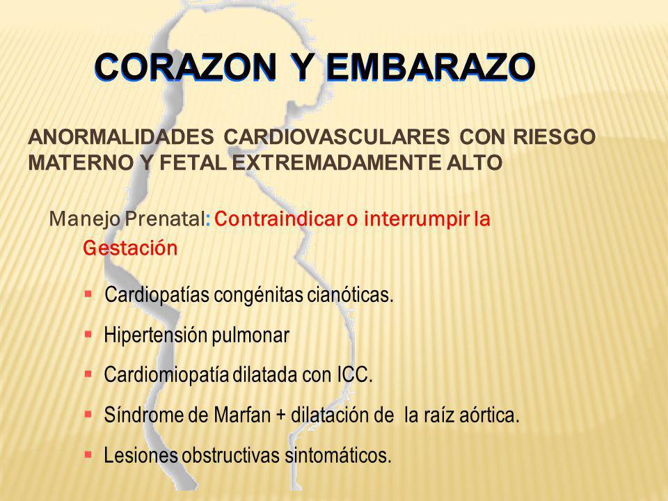 CORAZON Y EMBARAZO Manejo Prenatal: Contraindicar o interrumpir la