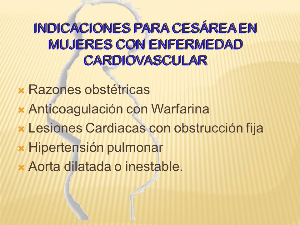 INDICACIONES PARA CESÁREA EN MUJERES CON ENFERMEDAD CARDIOVASCULAR