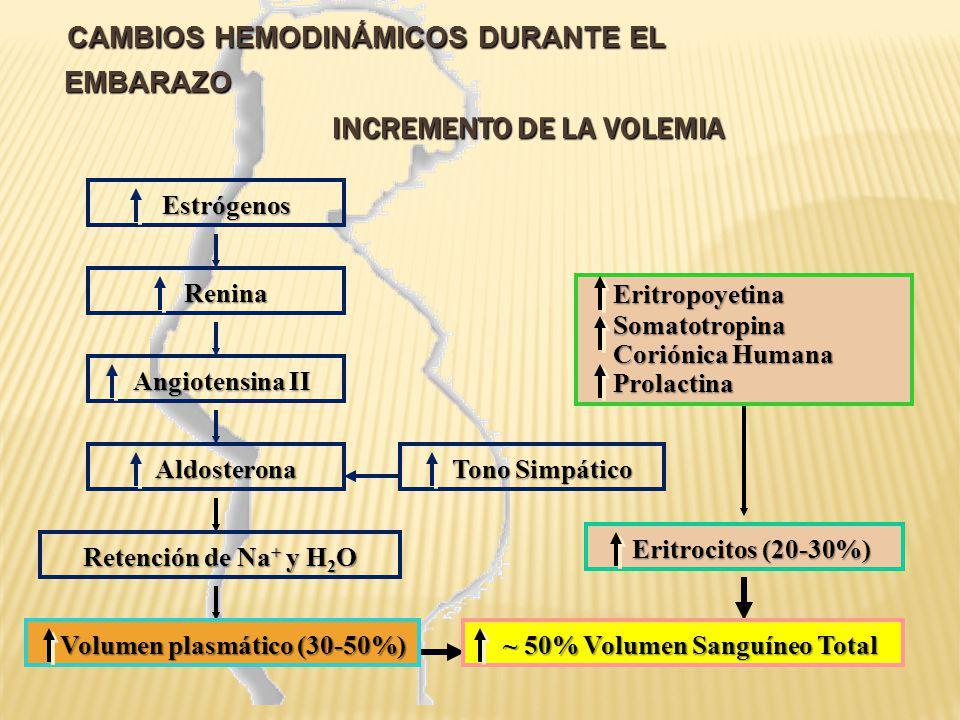 CAMBIOS HEMODINÁMICOS DURANTE EL EMBARAZO Incremento de la Volemia