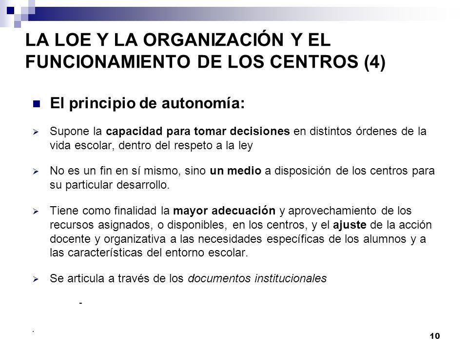 LA LOE Y LA ORGANIZACIÓN Y EL FUNCIONAMIENTO DE LOS CENTROS (4)