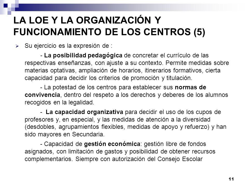 LA LOE Y LA ORGANIZACIÓN Y FUNCIONAMIENTO DE LOS CENTROS (5)