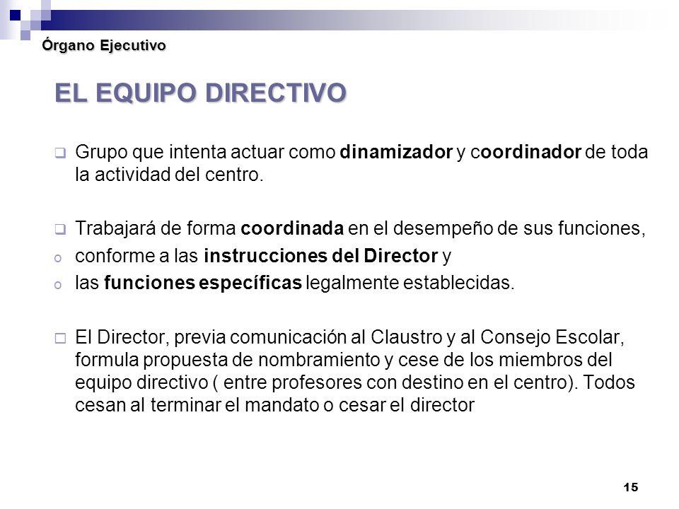 Órgano Ejecutivo EL EQUIPO DIRECTIVO. Grupo que intenta actuar como dinamizador y coordinador de toda la actividad del centro.