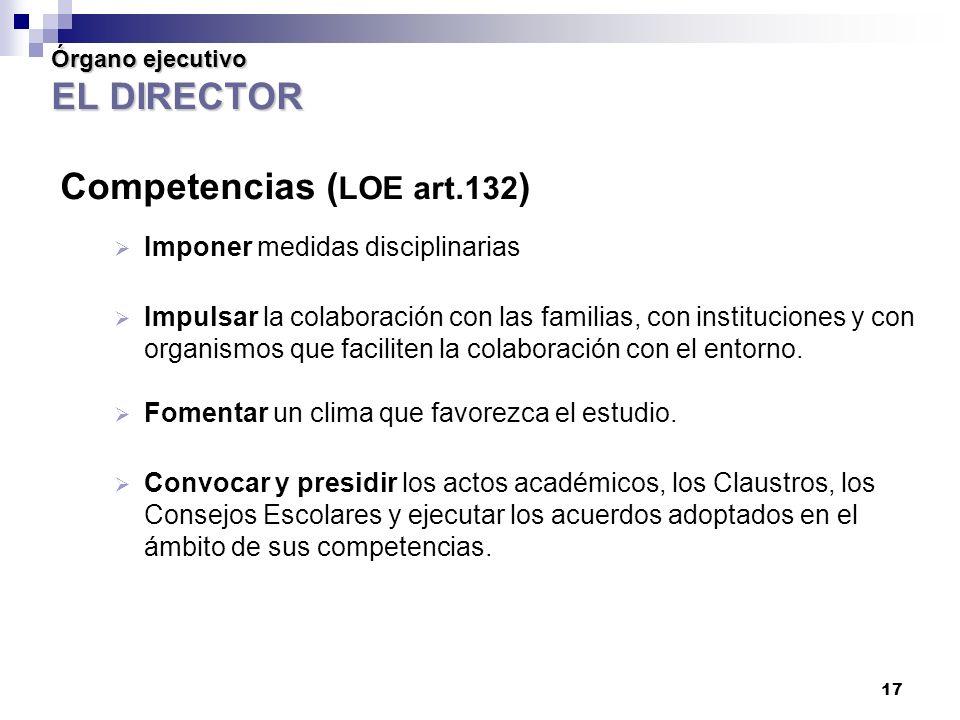 Órgano ejecutivo EL DIRECTOR Competencias (LOE art.132)