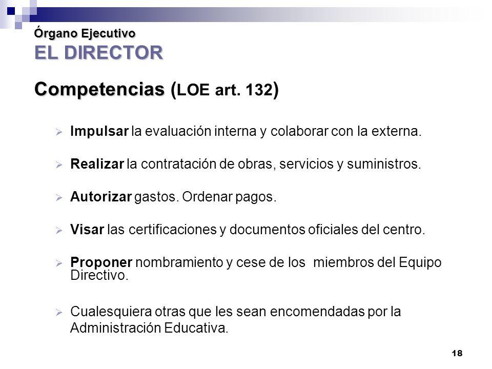 Órgano Ejecutivo EL DIRECTOR Competencias (LOE art. 132)