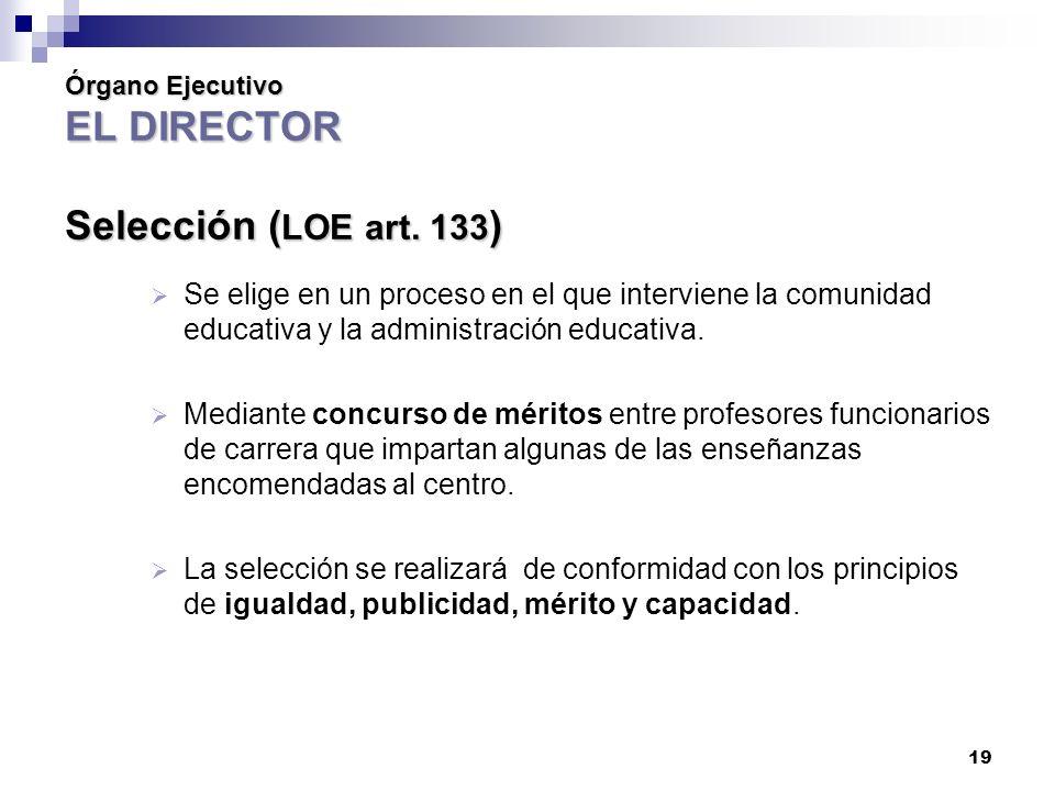 Órgano Ejecutivo EL DIRECTOR Selección (LOE art. 133)