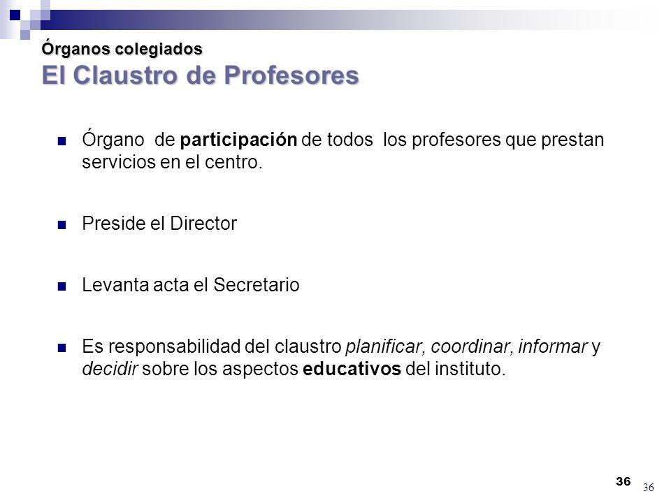 Órganos colegiados El Claustro de Profesores
