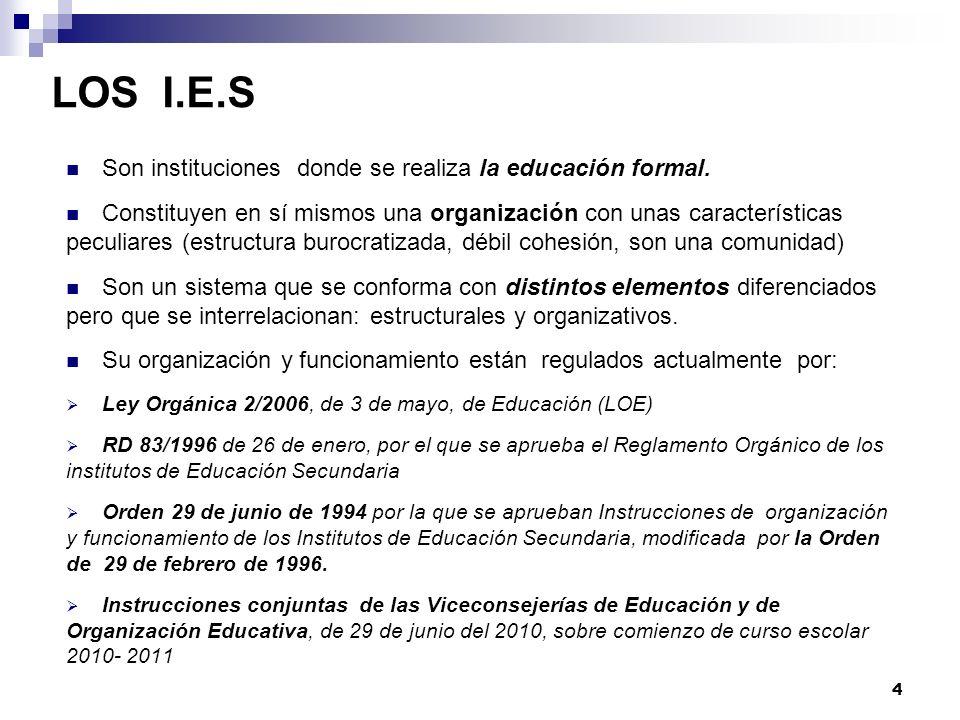 LOS I.E.S Son instituciones donde se realiza la educación formal.