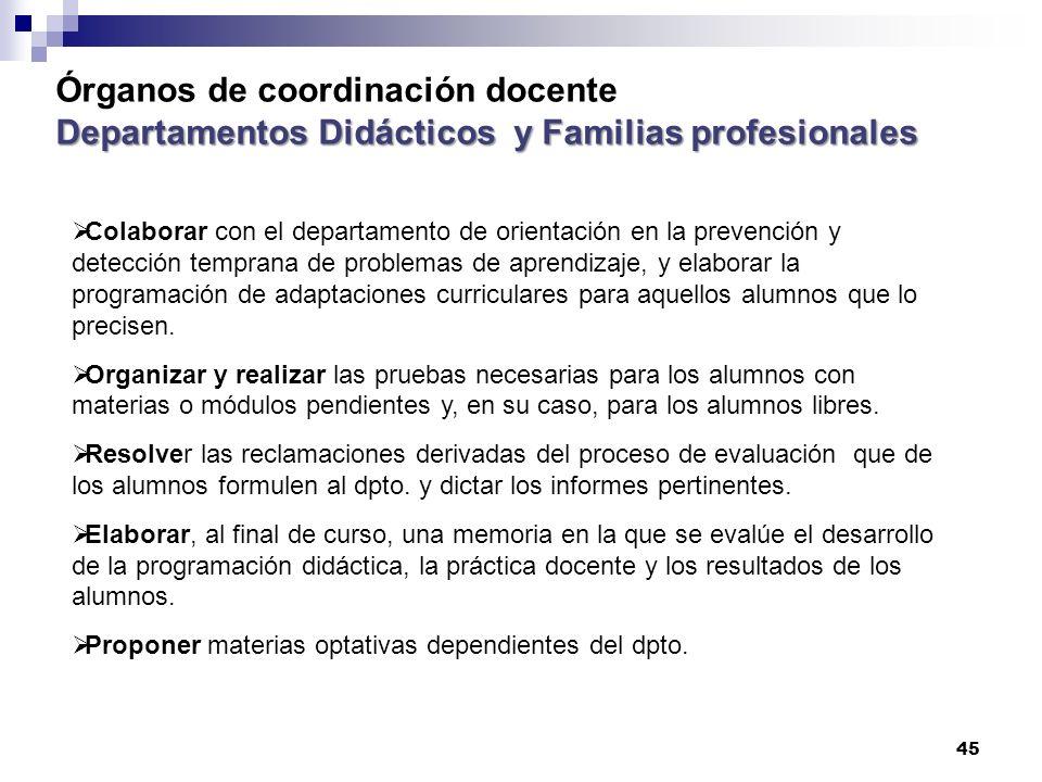 Órganos de coordinación docente Departamentos Didácticos y Familias profesionales