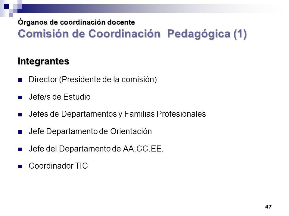 Integrantes Director (Presidente de la comisión) Jefe/s de Estudio