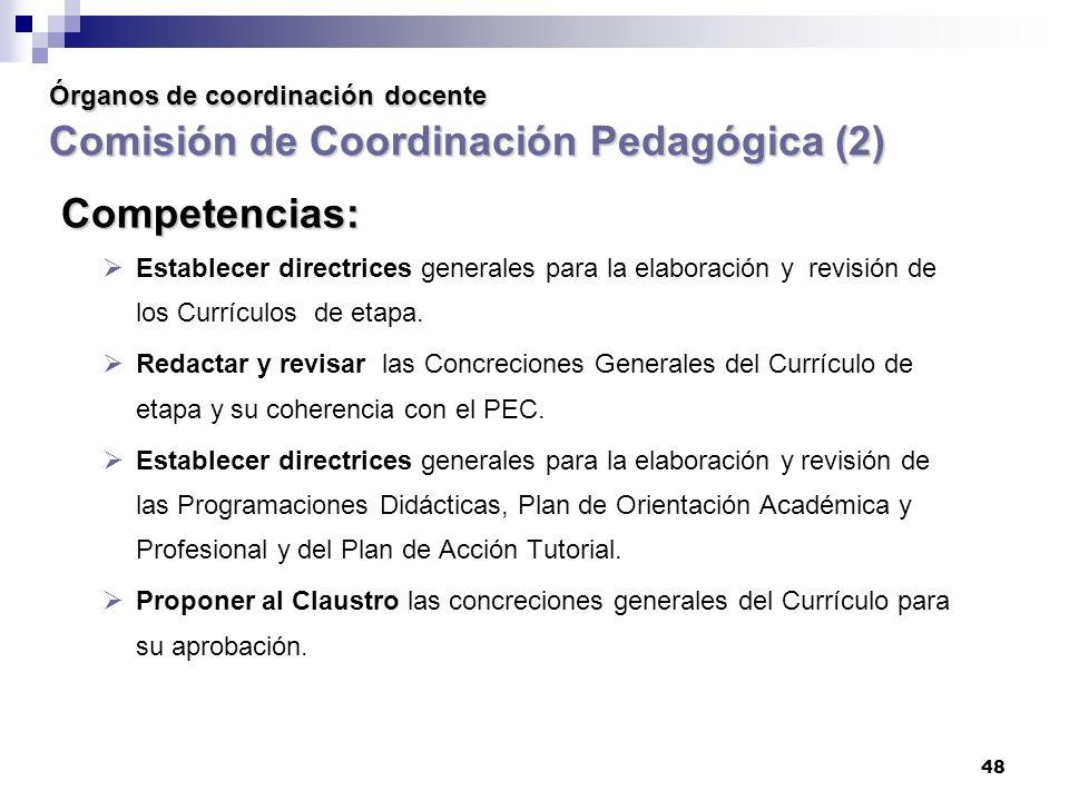 Órganos de coordinación docente Comisión de Coordinación Pedagógica (2)