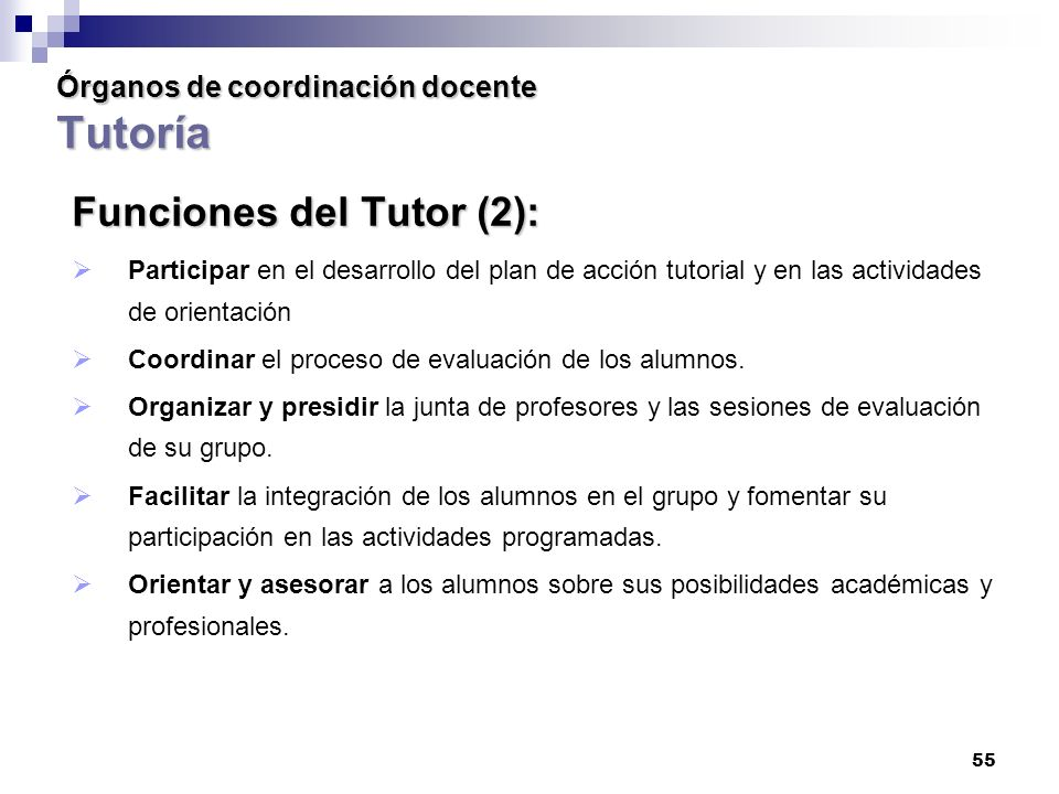 Órganos de coordinación docente Tutoría