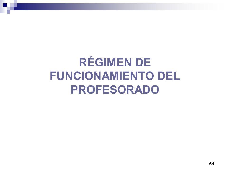 RÉGIMEN DE FUNCIONAMIENTO DEL PROFESORADO