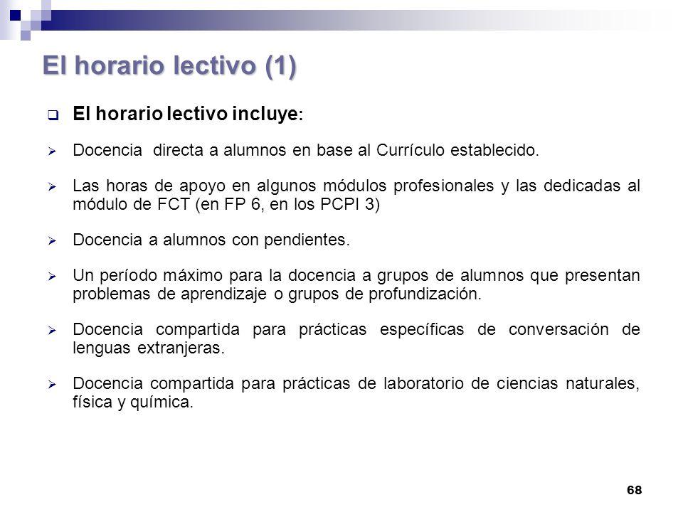 El horario lectivo (1) El horario lectivo incluye: