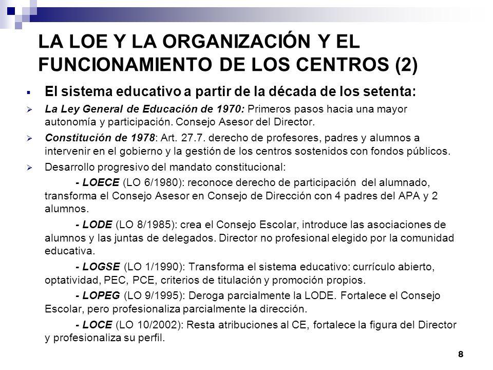 LA LOE Y LA ORGANIZACIÓN Y EL FUNCIONAMIENTO DE LOS CENTROS (2)