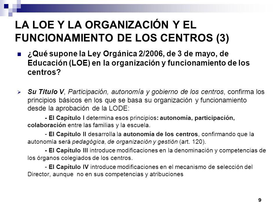 LA LOE Y LA ORGANIZACIÓN Y EL FUNCIONAMIENTO DE LOS CENTROS (3)