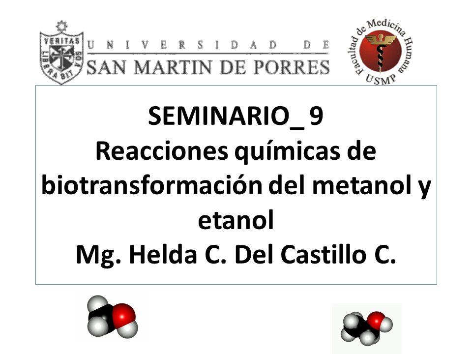 SEMINARIO_ 9 Reacciones químicas de biotransformación del metanol y etanol Mg.
