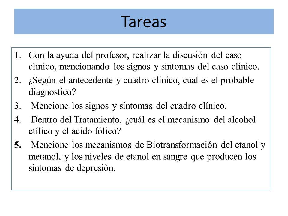 Tareas Con la ayuda del profesor, realizar la discusión del caso clínico, mencionando los signos y síntomas del caso clínico.