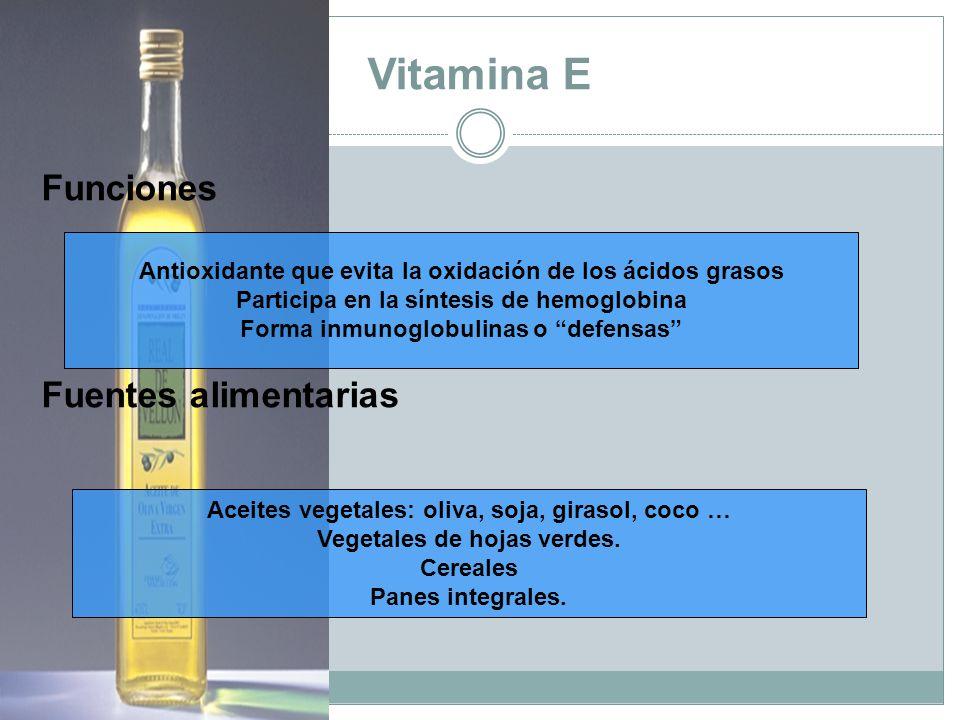 Vitamina E Funciones Fuentes alimentarias