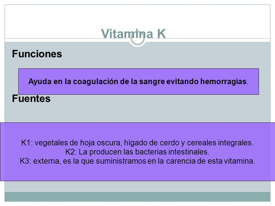 Vitamina K Funciones Fuentes