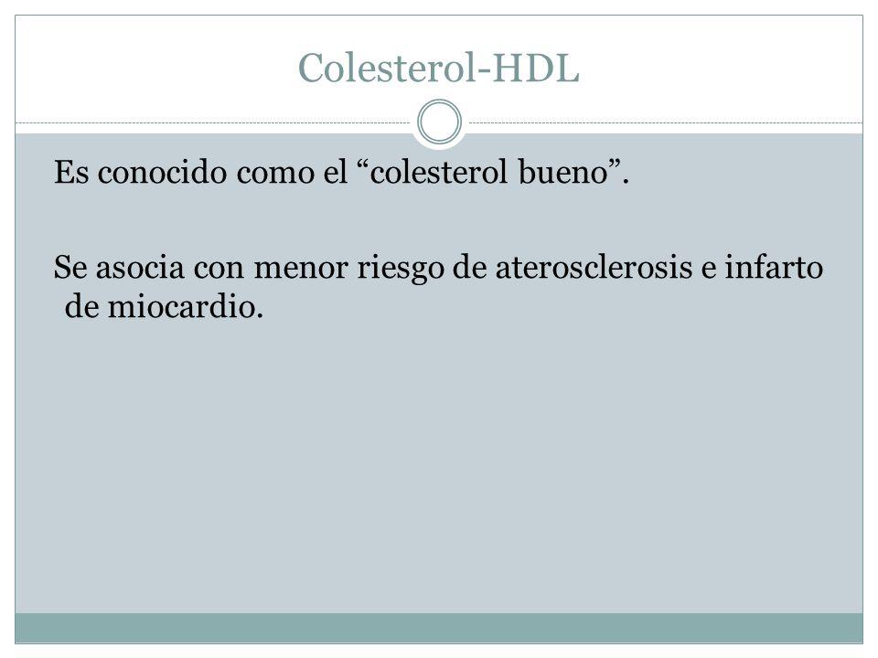 Colesterol-HDL Es conocido como el colesterol bueno .